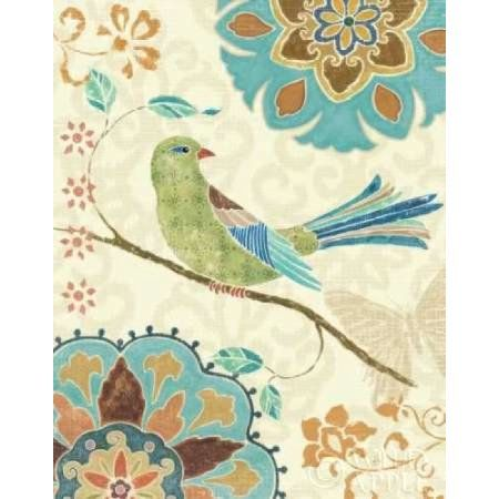 Eastern Tales Birds II Canvas Art - Daphne Brissonnet (22 x 28)