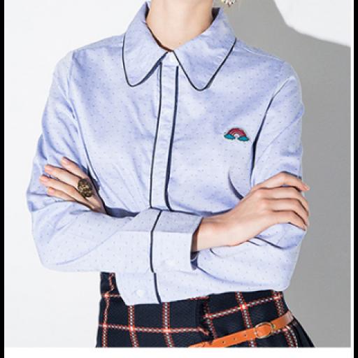 قميص كتان نسائي سماوي بتحديد كحلي Athletic Jacket Fashion Jackets