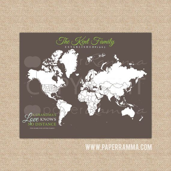 Custom Map for Grandparents Long Distance Family Map by PaperRamma