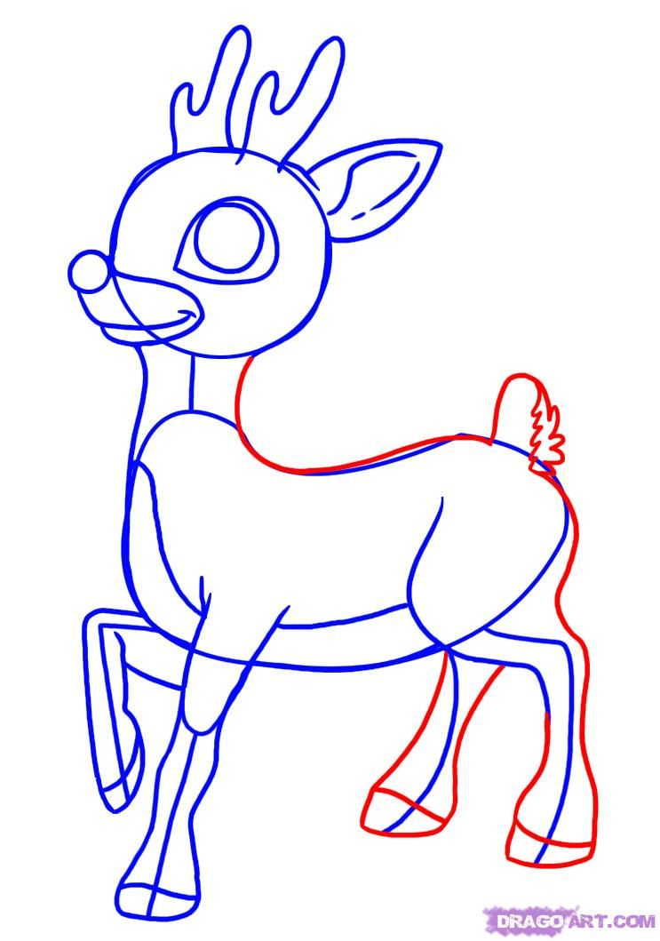 how to draw rudolph the red nosed reindeer step 5 | Christmas ...