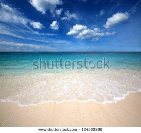 Sea Beach Blue Sky Sand Sun Daylight Relaxation Landscape Viewpoint For Design Postcard And Calendar In Thailand Stock Beach Scene Images Beach Scenes Beach