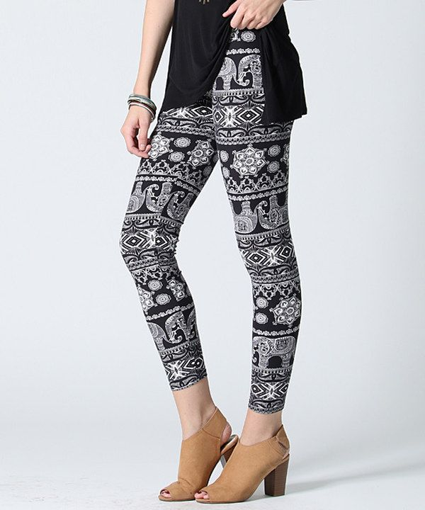 Look at this Black & Gray Elephant Leggings on #zulily today!