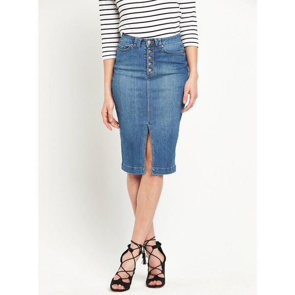 75867db429bab7 V By Very Button And Split Front Denim Pencil Skirt (2,495 INR) ❤ liked