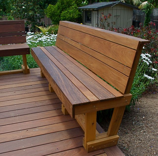 Wonderful patio wooden bench design bench pinterest for Hardwood outdoor decking