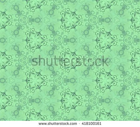 Seamless pattern on a wall, mint. Abstract gentle wall-paper, with vegetable drawing on a rough background. A print for fabric, decorative textiles, packing paper, a background for design, etc.