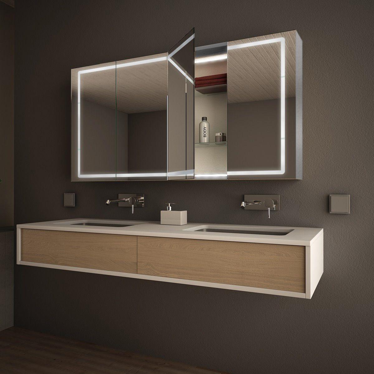 Spiegelschrank Led Mit Alu Korpus Nach Mass Reno 989709640 Badezimmer Spiegelschrank Spiegelschrank Badspiegelschrank