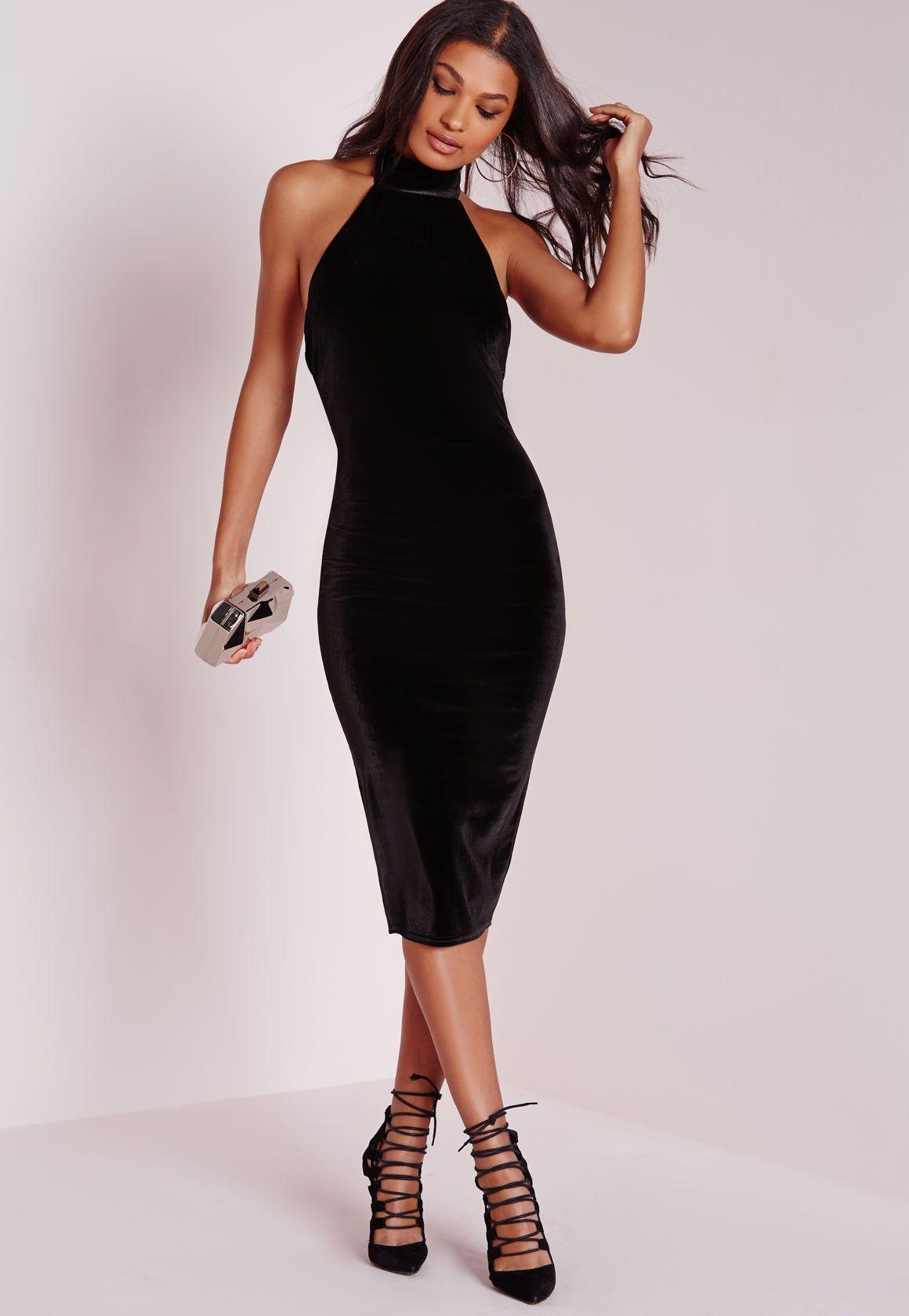 Panties black velvet bodycon midi dress with sleeves jill karen scott