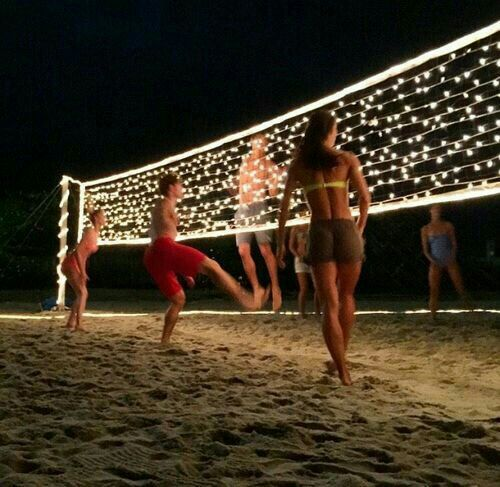 Put Lights On The Volleyball Net So You Can Play In The Dark Love This Idea Summer Diy Projects Summer Diy Summer Projects