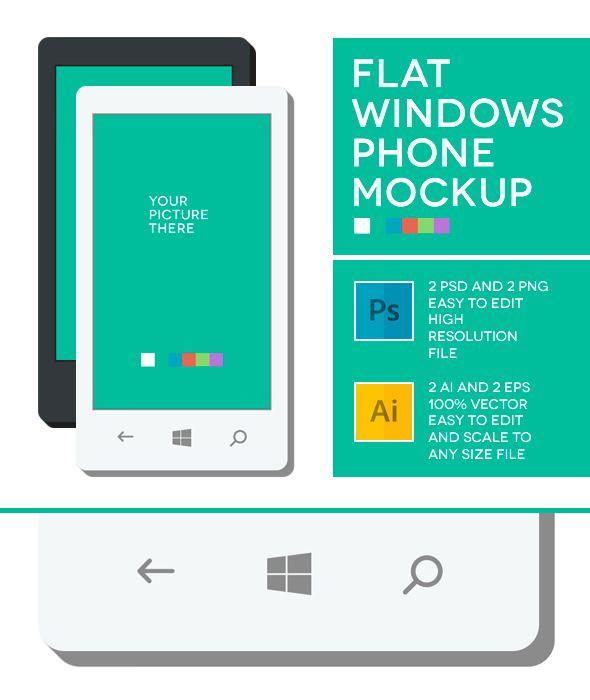 Windows Phone Flat Mockup Free Download | Device Screens +
