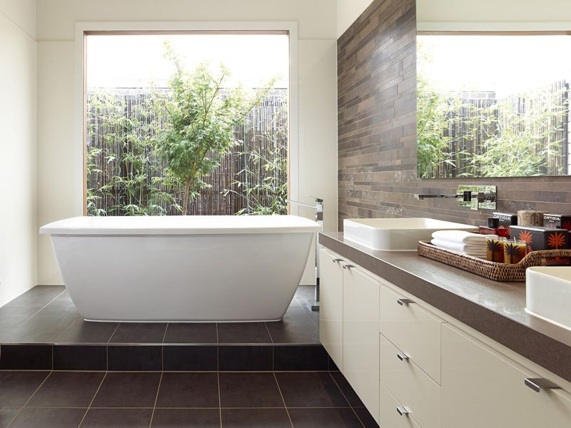 idea like freestanding bath with large window with basin only single