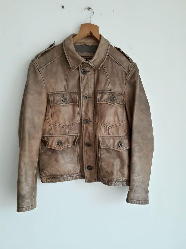 Vintage Marlboro Classics Horse Skin Genuine Leather Brown Coat Jacket Size M Marlboro Classics Jackets Brown Coat