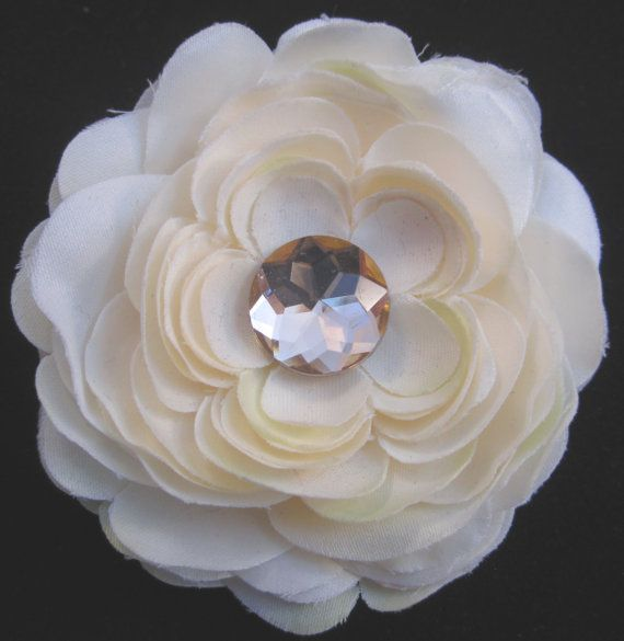 #Handmade Champagne Flower and Jewel Hair Clip by ninjavspirategifts on Etsy, $8.00