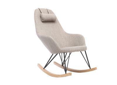 Fauteuil Relax Rocking Chair Tissu Gris Pieds Métal Et Frêne JHENE - Fauteuil rocking chair design