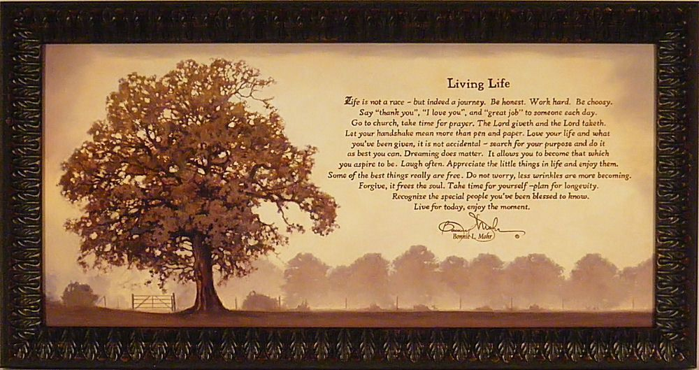 LIVING LIFE by Bonnie Mohr FRAMED ART PRINT PICTURE Tree Inspirational 21x39 in Home & Garden, Home Décor, Posters & Prints | eBay