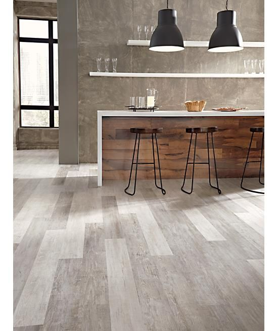 Modern Garage Floor Tiles Design With Grey Color Interior: Modern Design Grey Kitchen With Open Shelving Tarkett