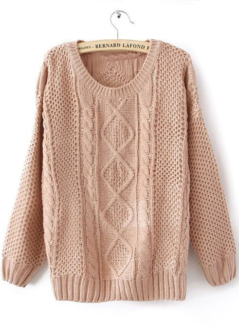 Pink Round Neck Broken Stripe Cable Sweater   Knitted