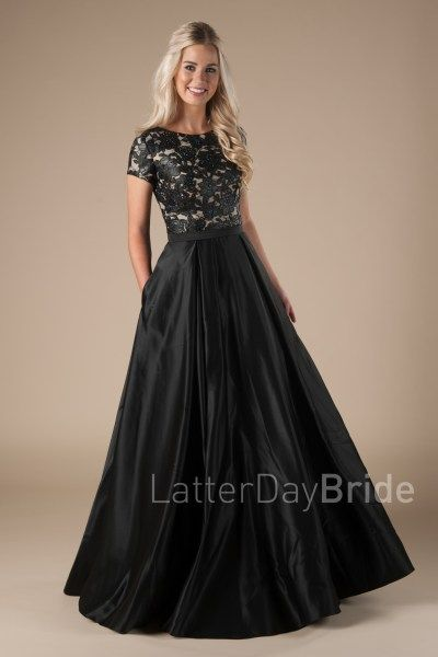 modern modest prom dress, the Harlo with pleather in black, A-line ...