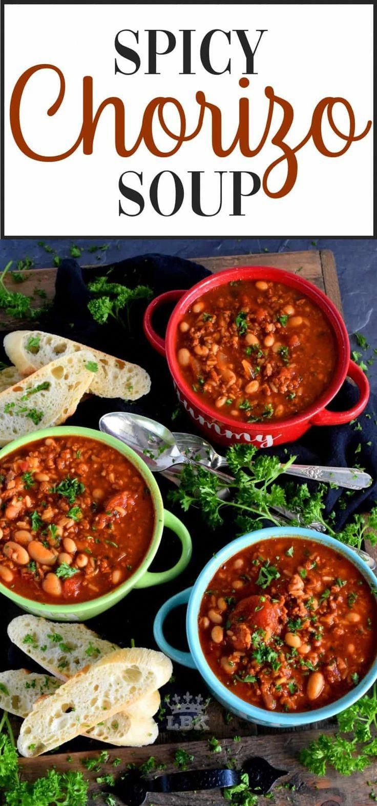 Spicy Chorizo Soup - This soup is thick, hearty, and spicy too! Made with ground chorizo, tomatoes, beans, and rice, this soup is sure to stick to your ribs!  #soup #chorizo #spicy #chili #stew #chorizorecipesappetizers