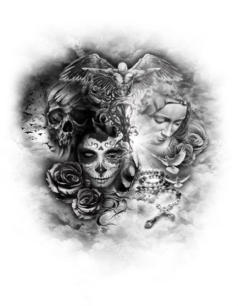 Good Vs Evil Drawing Ideas : drawing, ideas, Sleeve, Tattoos,, Tattoo, Designs