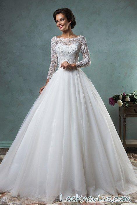 vestido de novia con mangas y falda plisada   wedding dresses