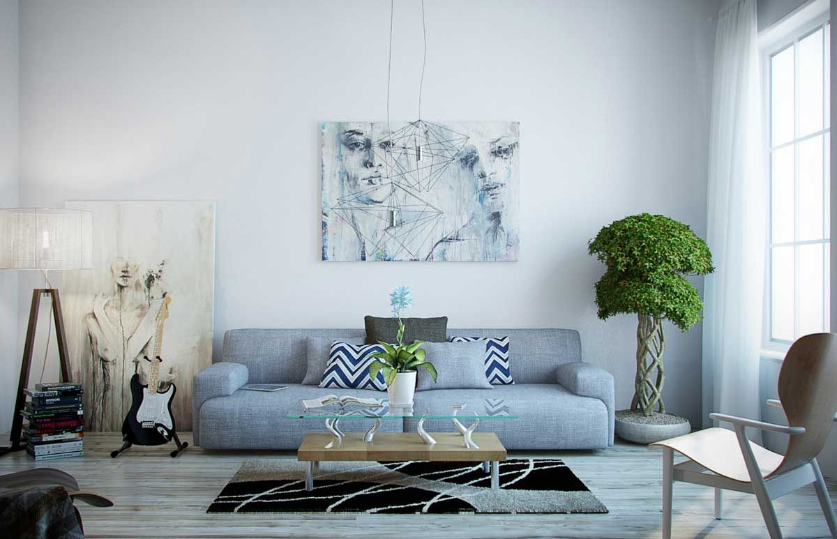 Gray Living Room For Minimalist Concept   Http://www.amazadesign.com