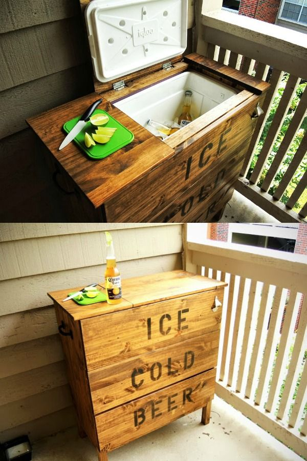 Remodelaholic Brilliant Diy Cooler Tables For The Patio With Built In Coolers Sinks And Ice Boxes Budget Patio Diy Patio Diy Cooler