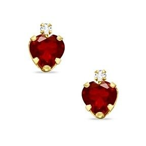 6mm Heart Shaped Garnet Earrings In Solid 10k Yellow Gold With Cz By Jewelryhub On