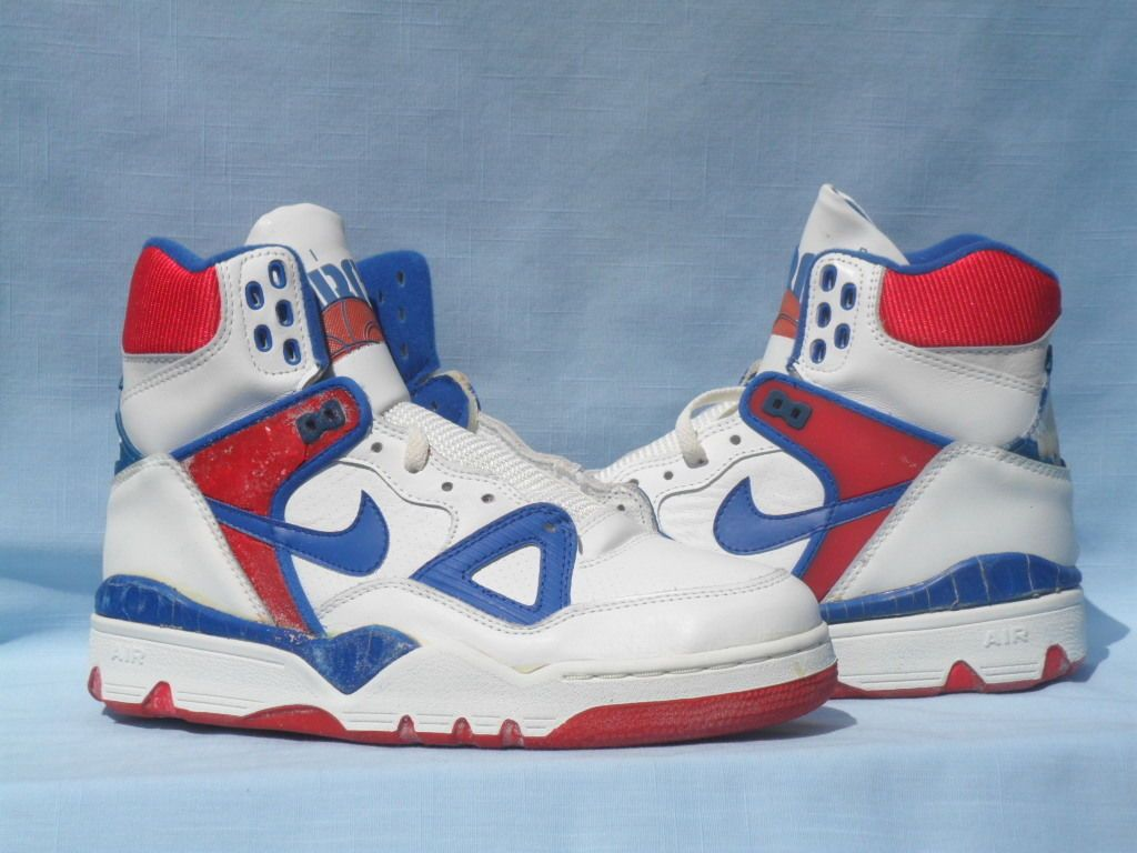 c1c741acccc Vintage 1989 Nike Air Force III 3 High White Royal Blue Red OG Size ...