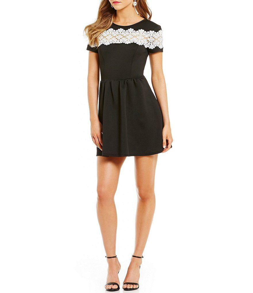 02ad87d2aa3c Lace Panel Short Sleeve Skater Dress