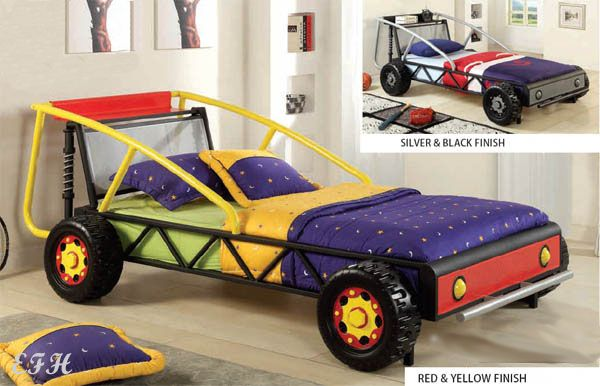 new racer red yellow or black silver finish metal twin size race car bed ebay ideas for. Black Bedroom Furniture Sets. Home Design Ideas
