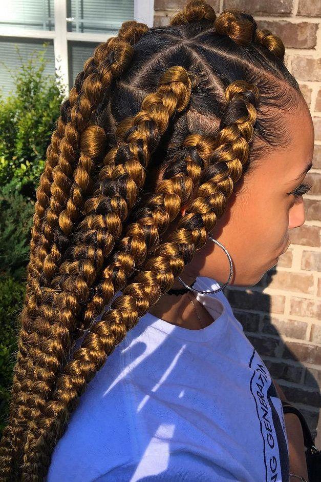 25 Beautiful Black Women Show Us How To Slay In Jumbo Braids Hair Styles Ghana Braids Hairstyles Braided Hairstyles