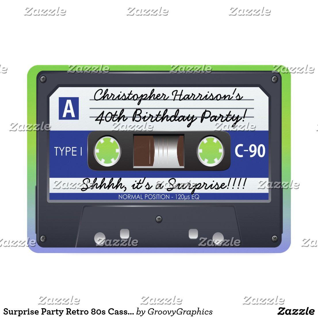 Surprise Party Retro 80s Cassette Tape Invitation