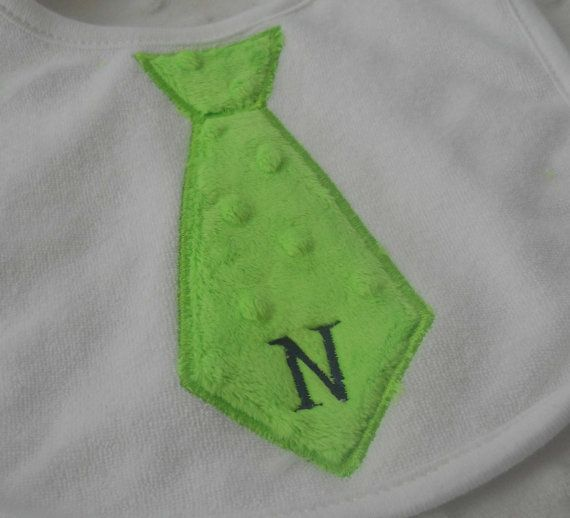 NeCK Tie Appliqued Bib for baby boy in LiMe by mylittlehedgehog, $8.99