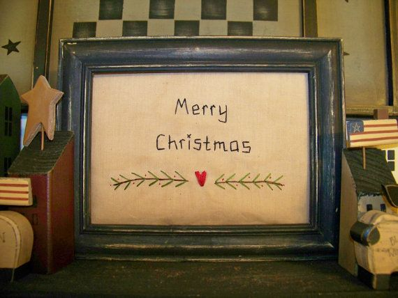 Merry Christmas Primitive Stitchery Picture Home Wall Decor UNFRAMED ...