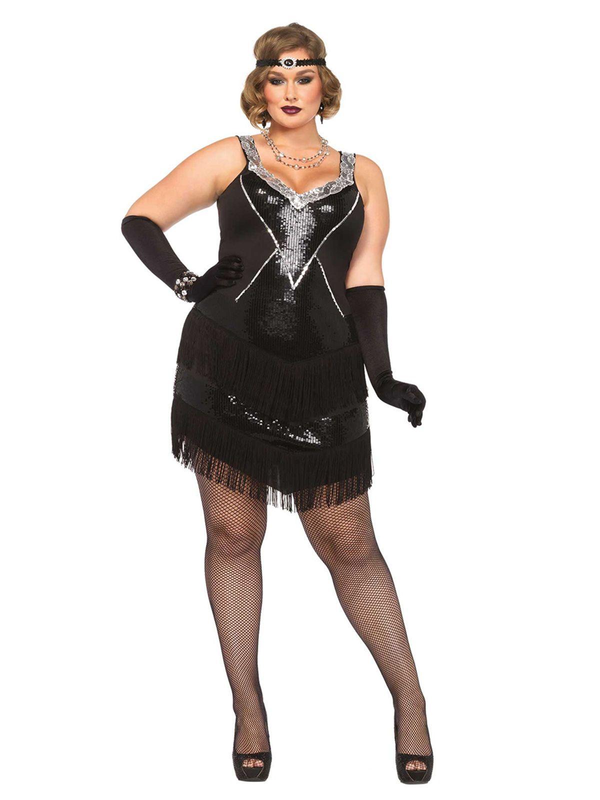 20er Jahre Flapper Plus Size Damenkostum Charleston Schwarz Silber Gunstige Faschings Kostume Bei Karneval Megastore Charleston Kostum Flapper Kostum Weibliche Kostume