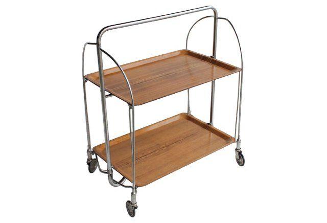 Midcentury Folding Bar Cart