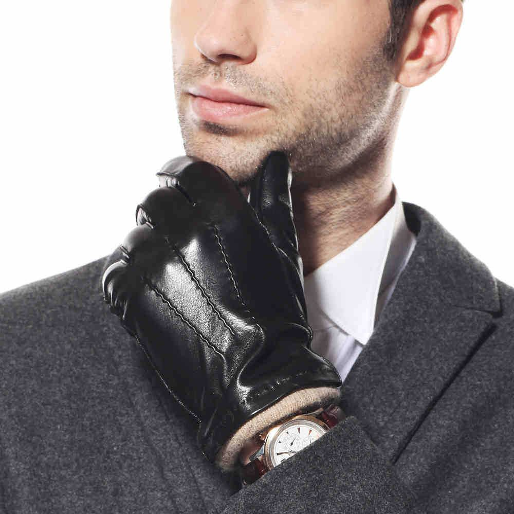 Black or brown leather gloves - Fashion Men Genuine Sheepskin Gloves Knitting Lining Black Wrist Leather Glove For Male Winter Warm Sale