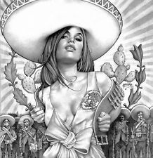 15ac7896d Spanish Pin Up Girl Tattoo | charra girl by mouse lopez charro mexican girl  sombrero giclee