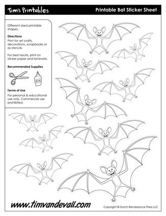 Bat Templates Free For Personal Arts And Crafts Projects For
