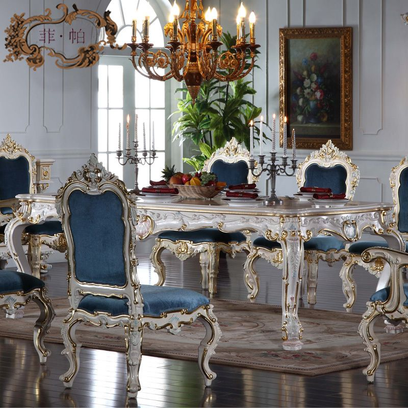 Italian French Antique Furniture All Silver Foil Royalty Classic Dining Table Classic Dining Room White Dining Chairs Classy Dining Room