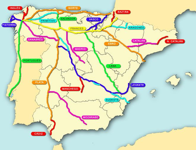 mapa de rutas del Camino de Santiago en España   la mas popular es