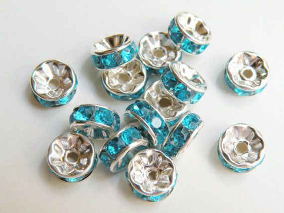 20 Peacock Blue rhinestone rondelle spacer beads by Sparkling Sisters Jewelry Supplies on Etsy, $2.95