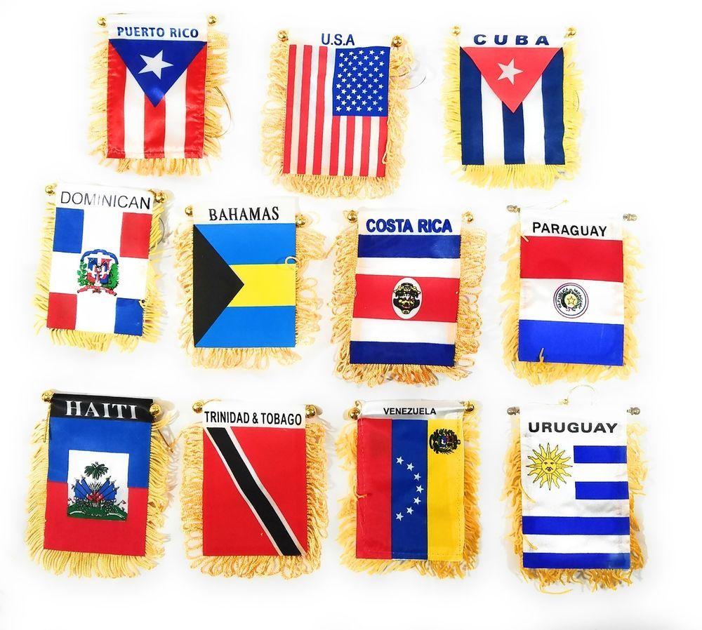 Mini Banner Car Truck Banners Flags Mirror Hanging Cuba Mexico Venezuela Haiti Ebay Hanging Mirror Haiti Banner