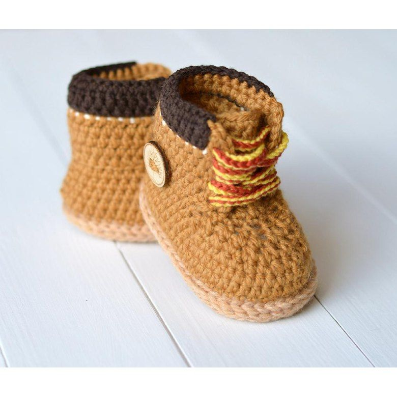 Baby Booties Timberland Style Crochet pattern by Caroline Brooke | Knitting Patterns | LoveKnitting