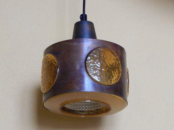 Scandinavian Vintage Copper Amber Glass Ceiling Light Vintage Etsy Glass Ceiling Lights Amber Glass Vintage Copper