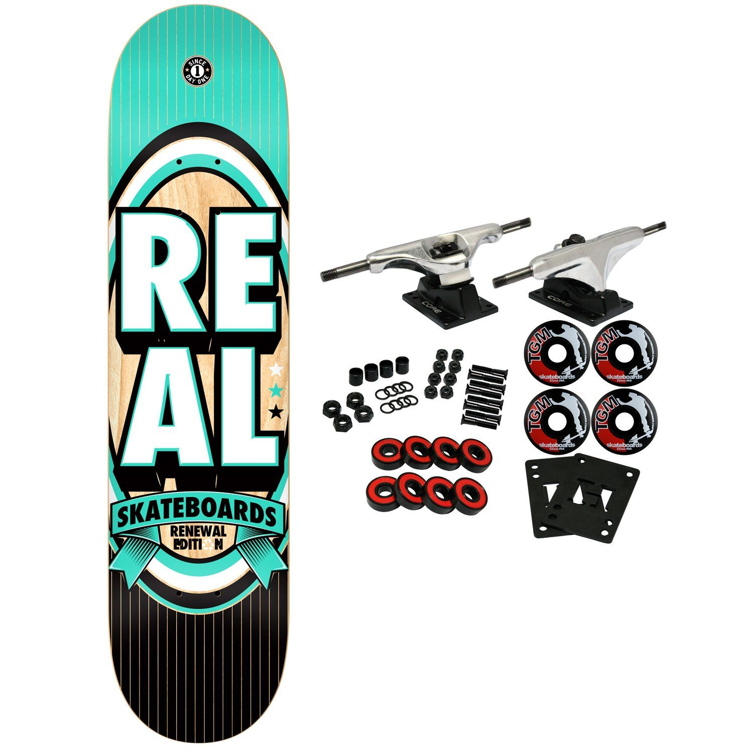 """REAL Skateboard plete RENEWAL STACKED MD TURQUOISE 7 75"""" Brand"""