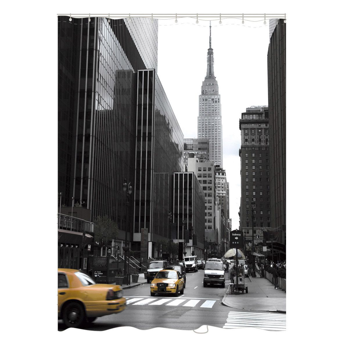 Rideau de douche en tissu New york SENSEA, noir, 180x200 cm 25 ...