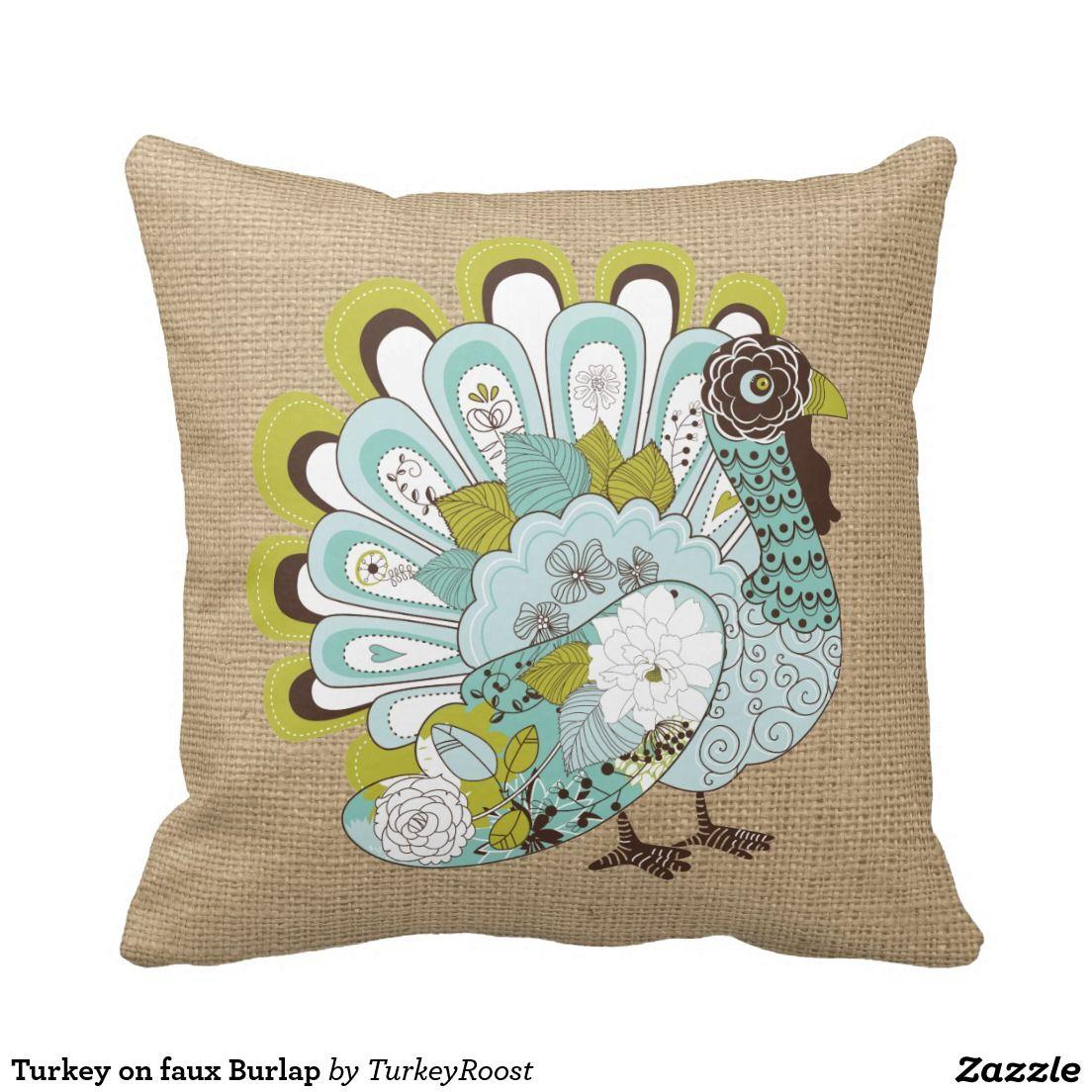 Turkey on faux Burlap Throw Pillow | Burlap throw pillows, Burlap ...
