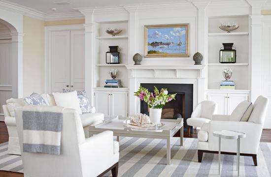 Designer louise brooks elegant home on long island sound - Living room furniture long island ...