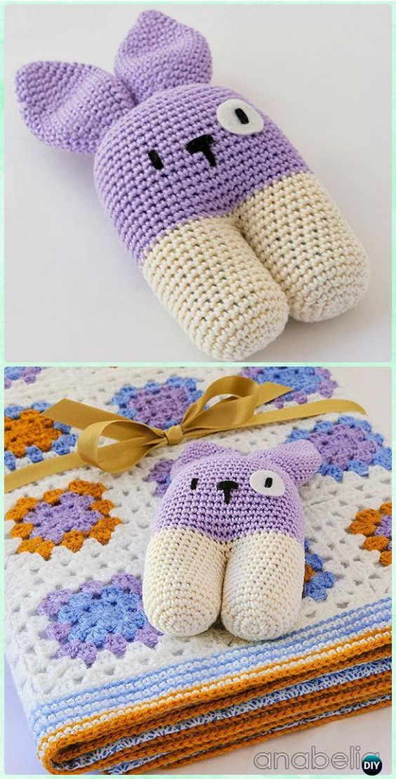 Crochet kids easter gifts free patterns free pattern crochet crochet baby blanket and bunny rattle free pattern crochet baby easter gifts free patterns negle Images